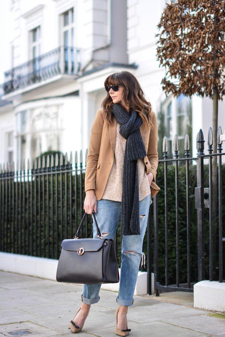 EJSTYLE - Emma Hill, Levis 501 boyfriend jeans, Zino Davidoff bag, grey knit scarf, Forever 21 camel blazer, H&M v neck beige jumper, Topshop camel court shoes, weekend OOTD