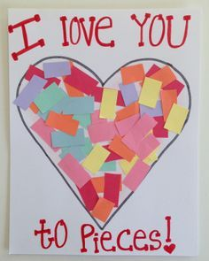 "Torn paper Valentine's Day ""I love you to pieces"" card. So cute! #valentinesday"