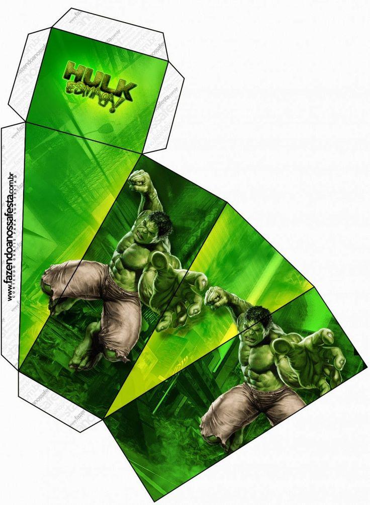 Hulk: Cajas para Imprimir Gratis.