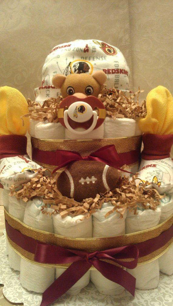 NFL Redskins Diaper Cake by TreasuresByCrys on Etsy, $50.00
