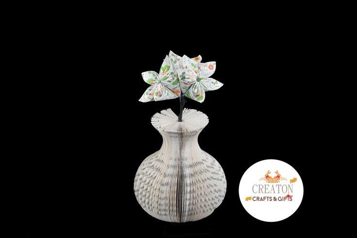 Mini Book Art Vase with Origami Kusudama Flowers - presentation box - Mothers day - 1st Wedding Anniversary - 4th Wedding Anniversary - Gift by CreatonCrafts on Etsy