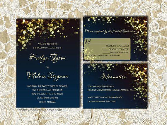 Gold Sparkles Navy Wedding Invitation Set DIY by DreamyMarimmy