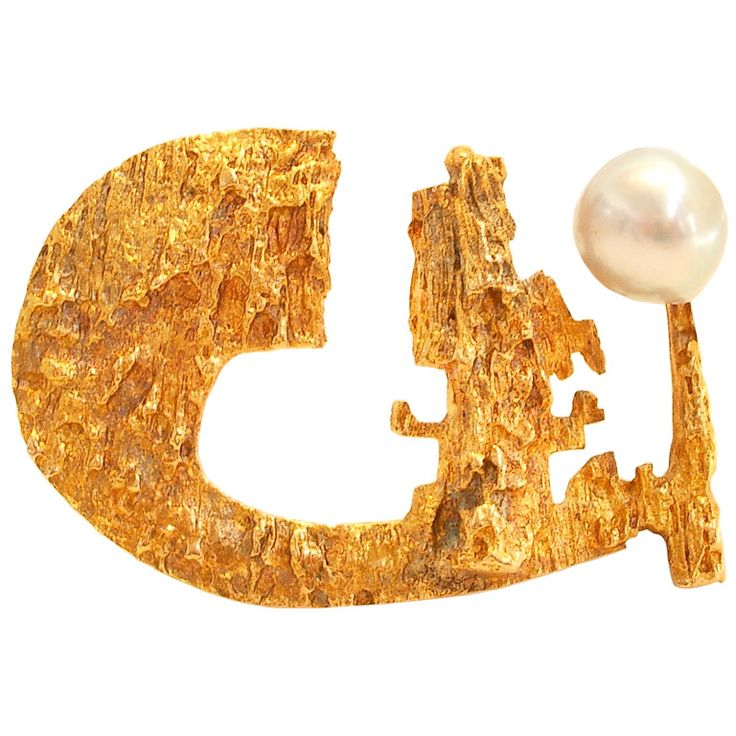 Björn Weckstrom for Lapponia ~Gold and Pearl #Brooch, 1967. | 1stdibs.com
