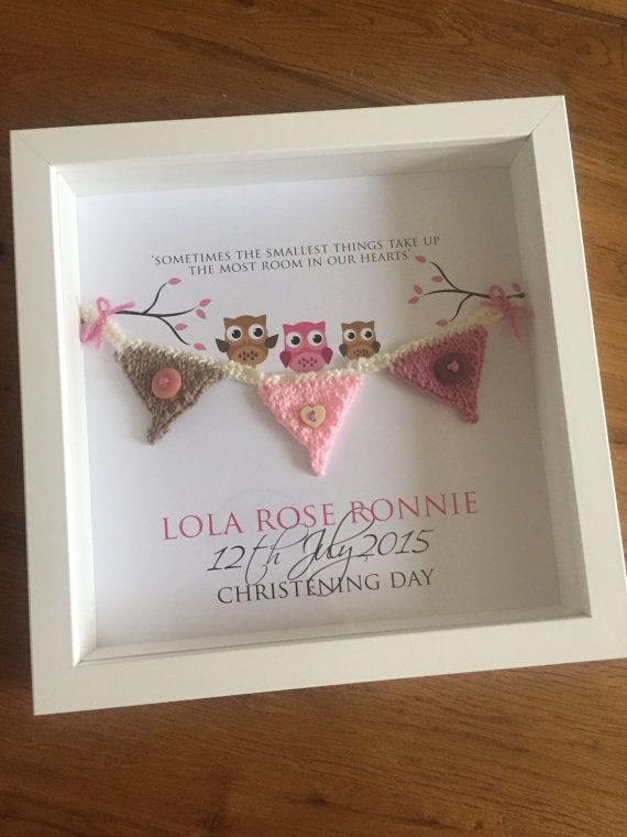 Customised personalised knitted bunting frame by ButtonsAndBootees