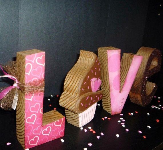 Shabby Chic Chocolate Cupcake LOVE Letter Set.
