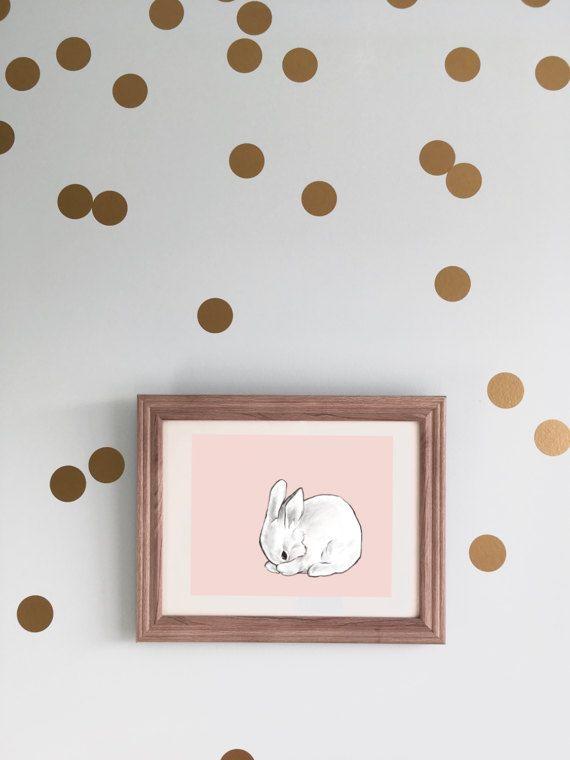 Modern Nursery Art - Bunny Rabbit - Baby Girl Wall Decor by CubsandKids
