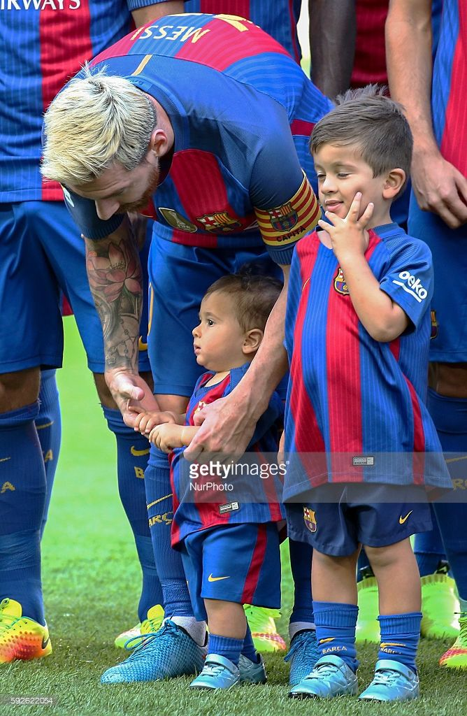 Leo Messi with his children Thiago and Mateo during La Liga match between F.C. Barcelona v Betis, in Barcelona, on August 20, 2016.