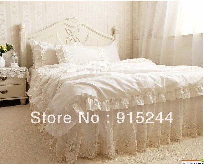 luxury embroidered 4pcs bedding set kingqueen size tulle ruffle lace 100 cotton unique comforter. Black Bedroom Furniture Sets. Home Design Ideas