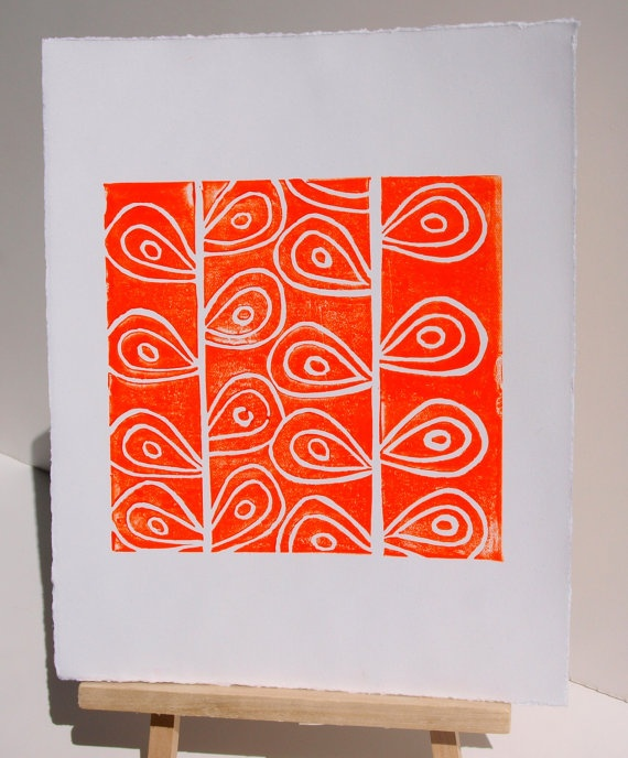 Art PRINT - Orange Stems Linocut 8x10