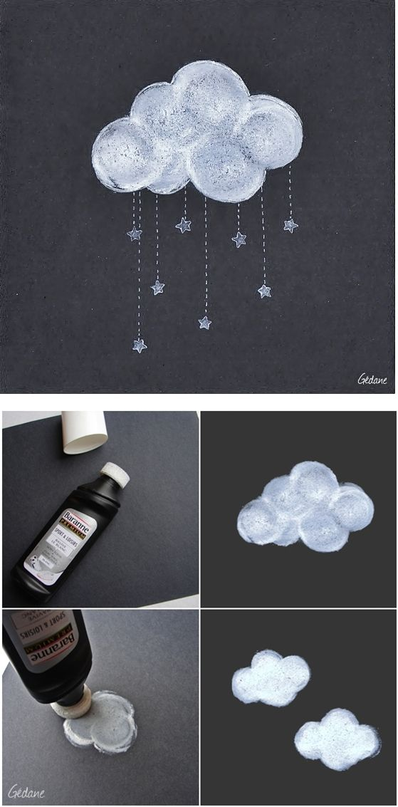 Use white shoe polish on dark paper to make beautiful cloud shapes!