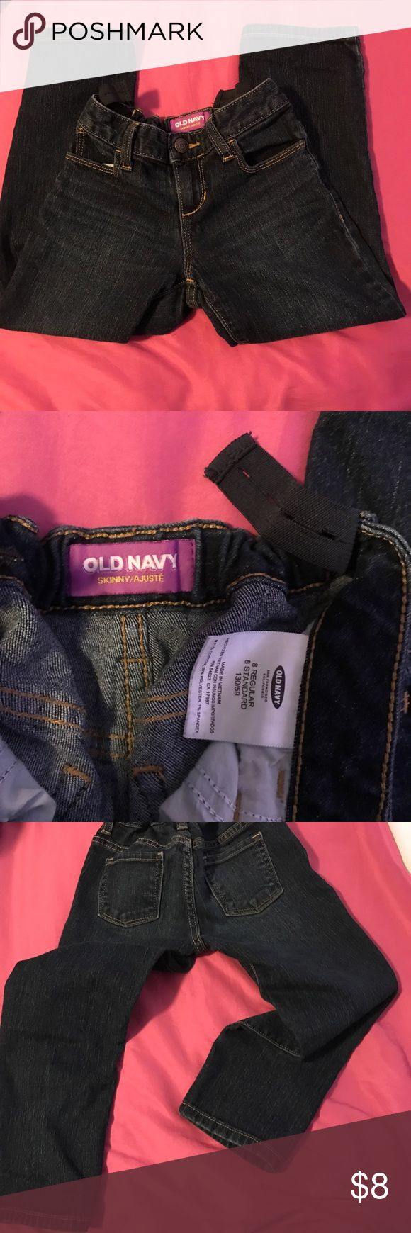 Girls Old Navy jeans In good condition. Some wear on the knees. The snap and zipper works great. Has the adjustable waist bands and they are in great working condition. Old Navy Bottoms Jeans