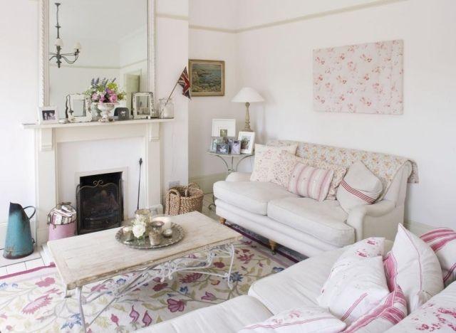 Потертый шик идеи гостиной декоративный элемент крем белый розовый