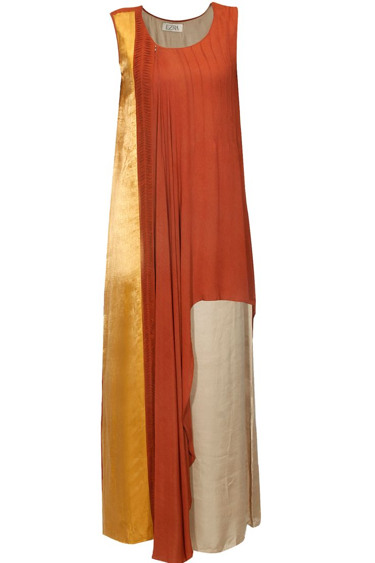 Rust red and mustard straight draped maxi dress available only at Pernia's Pop Up Shop.#perniaspopupshop #shopnow #happyshopping #designer #newcollection #EZRA #clothing #winterfestive