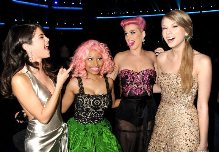 Our most recent photo of Katy Perry and Taylor Swift together is this one, with Selena Gomez and Nicki Minaj, from 2011. (FilmMagic)