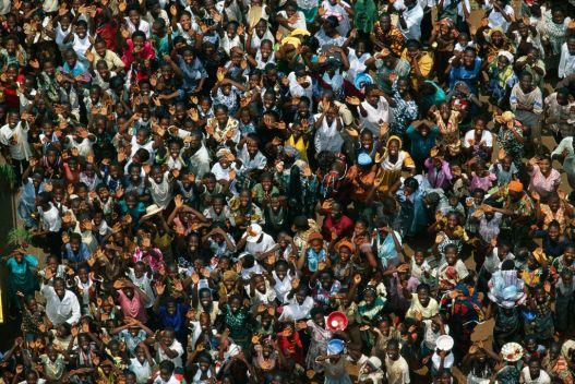 Crowd in Abengourou, Ivory Coast.