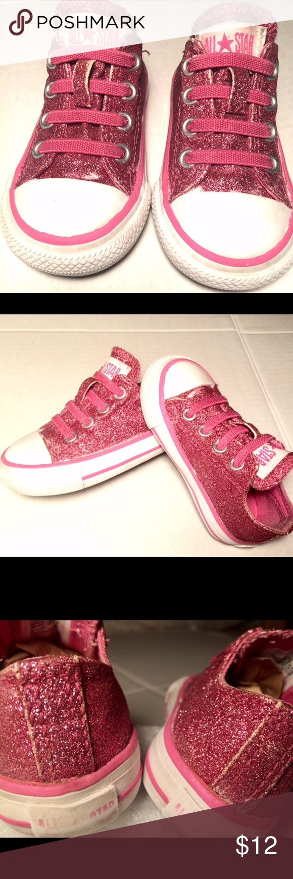 Glitter converse for little ones, size 4 Built with the best quality of any converse, big or small.  Rubber outsoles and bumpers, glitter covered canvas, elastic laces for easy slip on and off.  In EUC Converse Shoes Sneakers