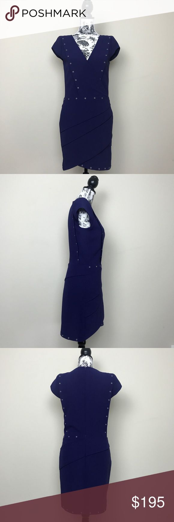 """NWOT THE KOOPLES Crepe Grommet Dress in Eggplant THE KOOPLES Crepe Grommet Dress. Short cap sleeves with faux wrap style. Silver grommet hardware detailing. V-neckline. Fully lined. Concealed back zipper. Light shoulder padding. 100% polyester. Dry clean. Length measures 35"""", bust 17"""", and waist measures 15"""" flat. The Kooples Dresses Mini"""
