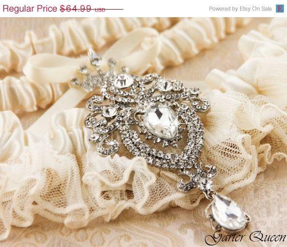 Bridal garters Wedding Garter Set Ivory Lace by GarterQueen, $58.49