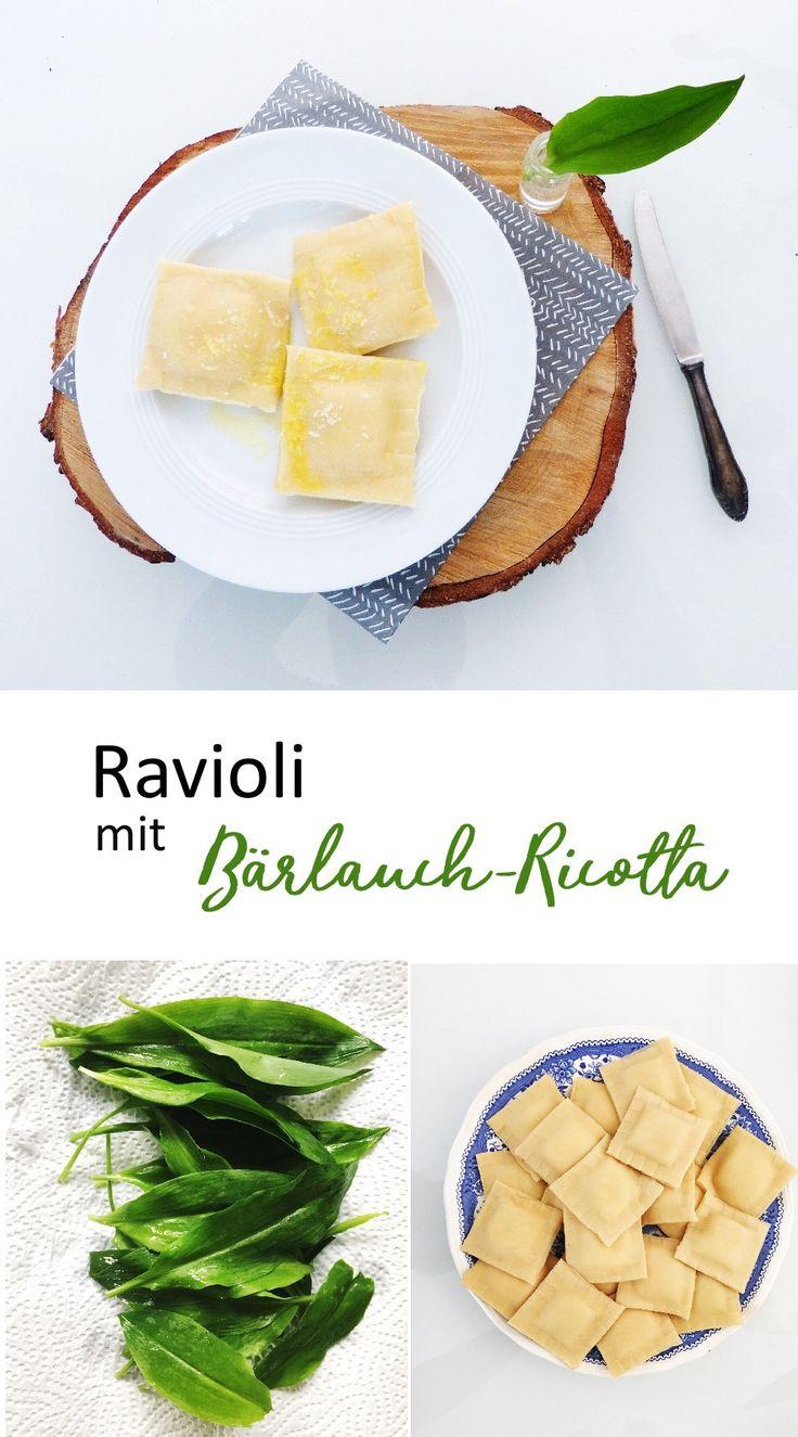 Frühlingsrezept mit Bärlauch.  Leckere selbstgemachte Ravioli mit einer Füllung aus Bärlauch und Ricotta. Nudeln selber machen, ist gar nicht schwierig und frisch schmecken sie viel besser als aus der Tüte.