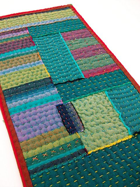 Sew together remnants then hand quilt with blendable thread. Detail by BooDilly's, via Flickr.