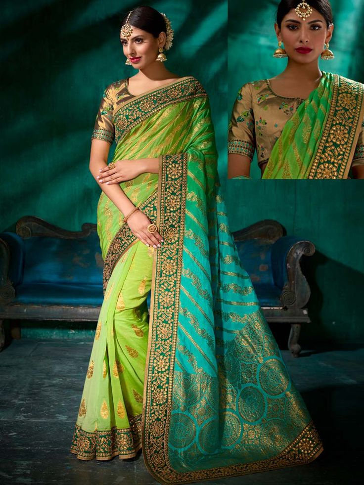 Beautiful light green, green and turquoise shaded pure viscose with worked patch border is adding glamour to the look. Make your collection more attractive and charming with this glorious outfit.