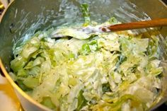 Creamy Cabbage: A different way to eat cooked cabbage...smothered in a creamy sauce! A mild side dish that goes well with almost any main (grass-fed, sustainable of course) meat dish. In fact, I thought about it as I was typing and I would suggest it goes well with ANY meat dish!