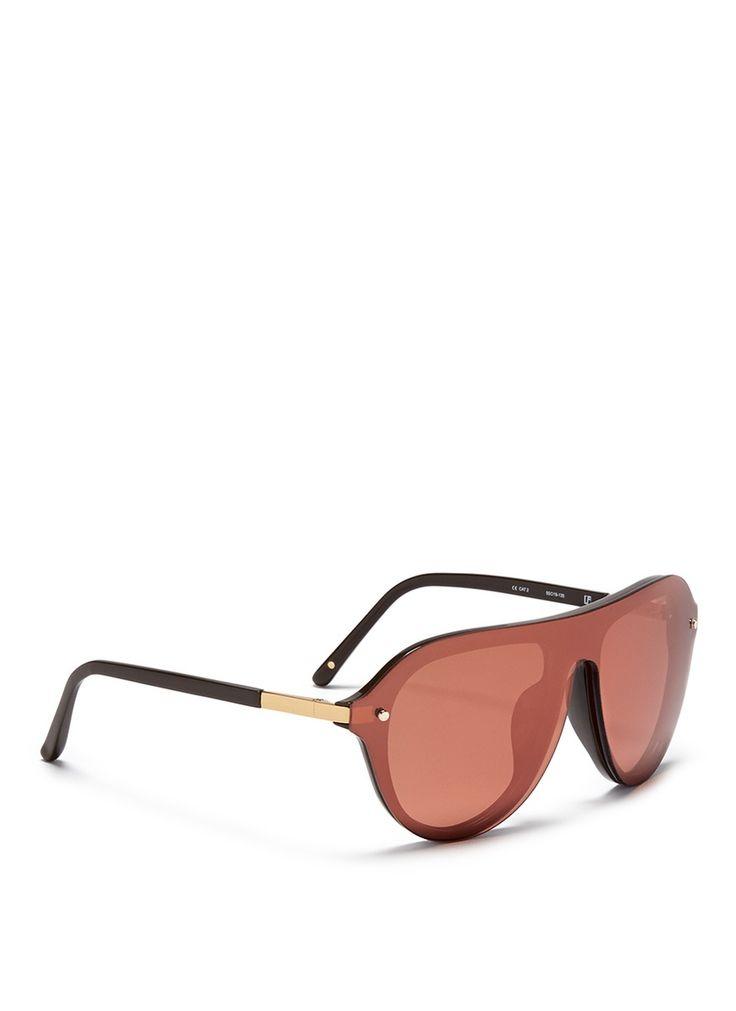 3.1 phillip lim X Linda Farrow Shield Acetate Aviator Sunglasses in Brown for Men (Metallic) | Lyst