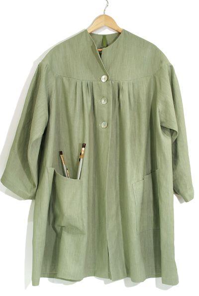 Green Hand Made Linen Smock-500 dollars I had better make one!