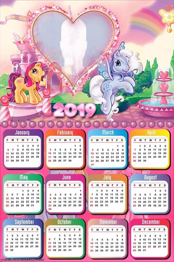 My Little Pony Calendar 2019 Frame Photo Montage Free Online
