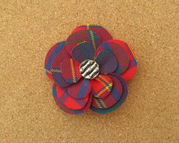 Pitcairn Tartan Fabric Flower Brooch