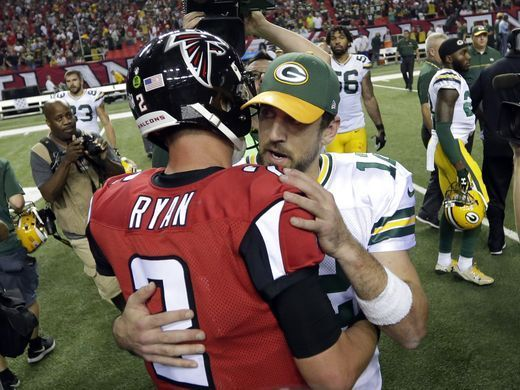 Packers vs. Falcons:    October 30, 2016  -  33-32, Falcons  -      Green Bay Packers quarterback Aaron Rodgers (12) talks with Atlanta Falcons quarterback Matt Ryan (2) after the Green Bay Packers 33-32 loss to the Atlanta Falcons, Sunday, October 30, 2016 at the Georgia Dome in Atlanta Georgia.  Rick Wood /USA TODAY NETWORK-Wisconsin