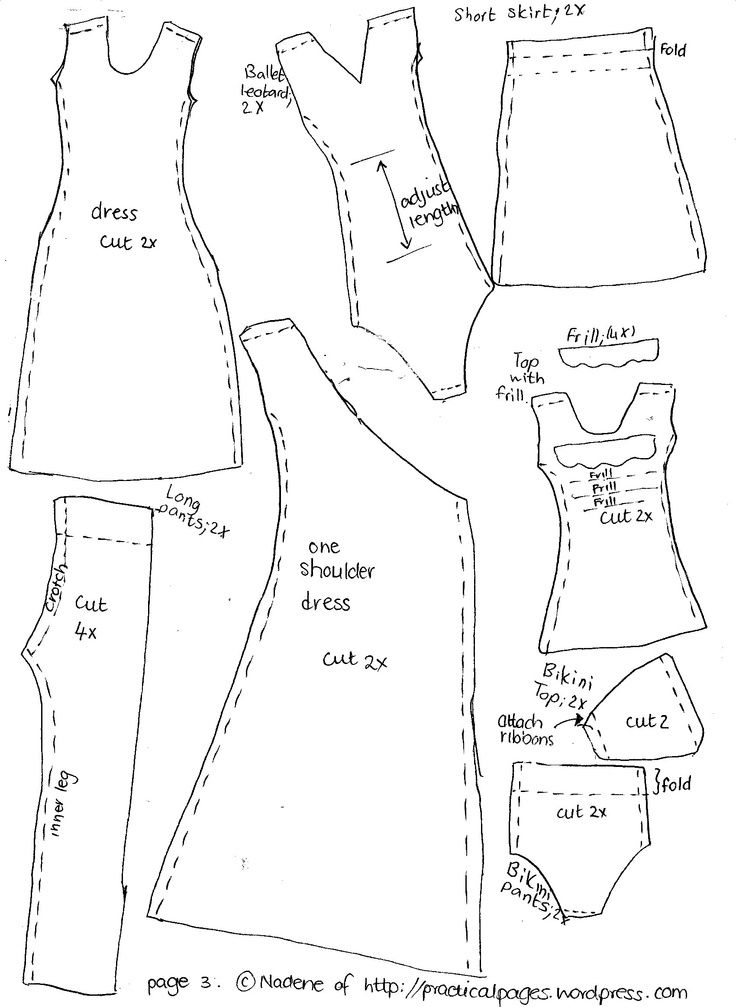 barbie clothes patterns free printable | Sewing Barbie Doll Clothes Patterns