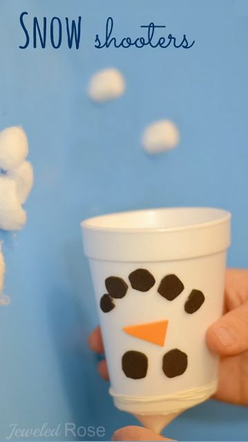 Snow Shooters- use markers and white balloons for easy party game to take home when done. And eat the marshmallows too!