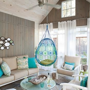 Hanging Chairs for Patios, Transitional, deck/patio, Liz Levin Interiors