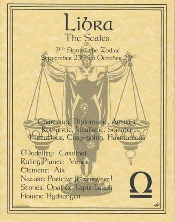 A wonderful reference, the libra poster explores the qualities of the 7th sign of the zodiac. Hang it by your altar or keep it on hand to refer seeking to better understand how the influences of the Z
