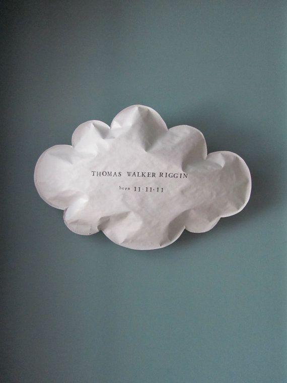 Personalized baby name large paper puffed cloud wall hanging -zum Verschenken vom babyquilt od Geschenk zur Geburt