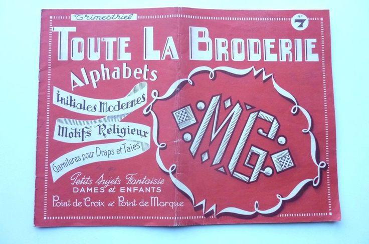Toute La Broderie n°7 1951 Alphabets -Initiales Modernes-Motifs Religieux divers