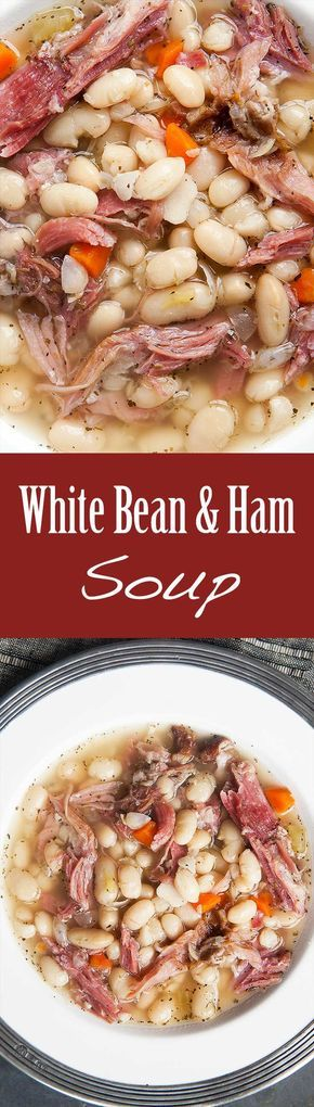 White Bean and Ham Soup ~ Hearty white bean and ham soup, perfect for cold winter days! White beans, ham shanks, onions, celery, carrots, garlic, Tabasco, and herbs.