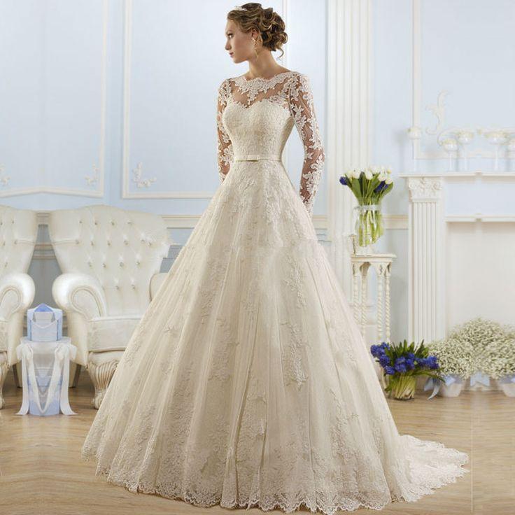 Cheap Vestido De Noiva Renda Vintage Princesa Del Cordón Del Vestido de Boda…