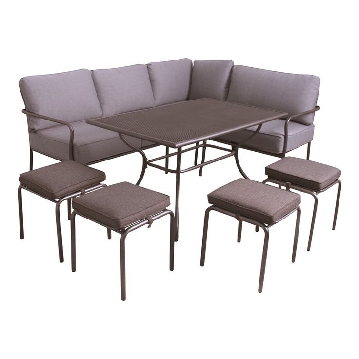 Richmond Casual Corner Dining Set, Metal Outdoor Furniture Lounge Set Great  For Dining Or Relaxing