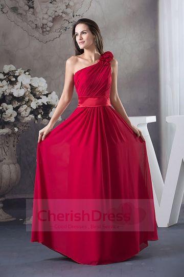 A-line/Princess One Shoulder Chiffon Floor-length Dress Mermaid Dress