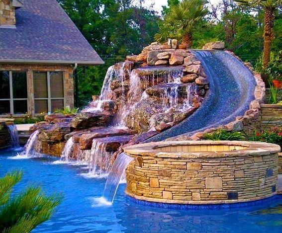 Nice pool and waterslide