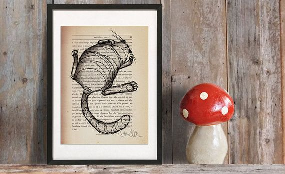 ilustración original para amantes de gatos, Gato gordo, gato perezoso, idea de decoración, desde Francia, efecto vintage, papel reciclado, tinta pintura: siesta de gato