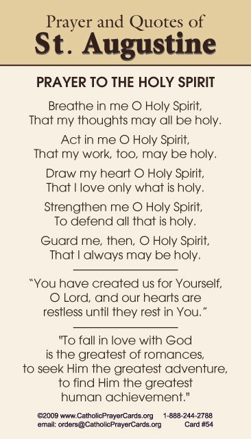 Prayer to the Holy Ghost by St. Augustine