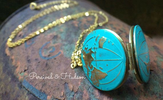 World Map Locket Globe Locket Necklace World by PERCIVALandHUDSON