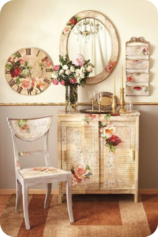 Although these pieces are decoupaged; they give you an idea of what could be done with painted florals.