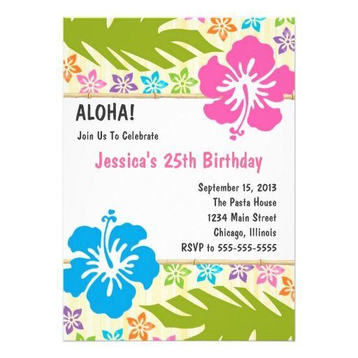 12 best invitations images on Pinterest Hawaiian parties - birthday invitation card templates free download