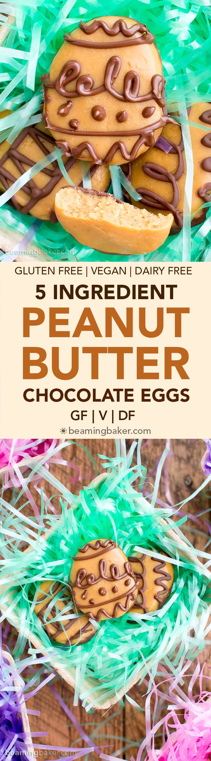 5 Ingredient Chocolate Peanut Butter Eggs (V, GF): a 5-ingredient, no bake recipe for decadent chocolate peanut butter eggs that taste like Reese's. #Vegan #GlutenFree #DairyFree | BeamingBaker.com
