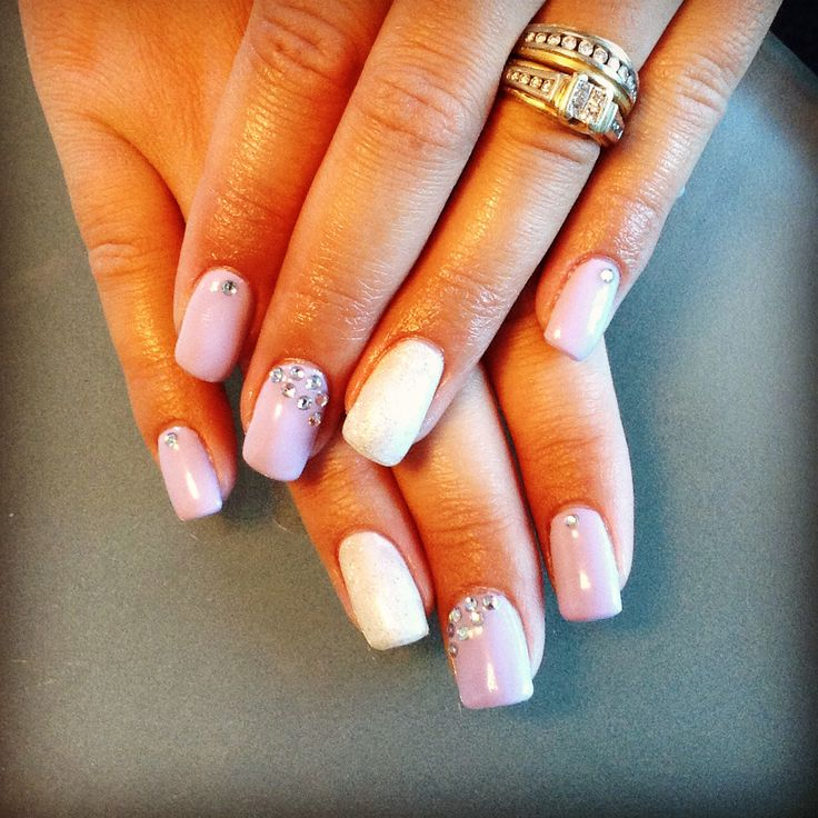 Lilac nails with bling!
