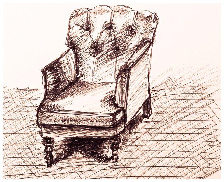 Take a seat, ballpoint drawing